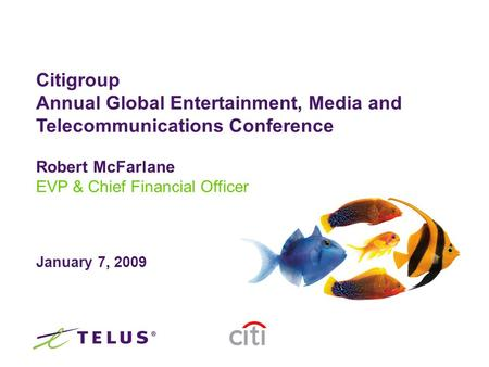 Robert McFarlane EVP & Chief Financial Officer January 7, 2009 Citigroup Annual Global Entertainment, Media and Telecommunications Conference.
