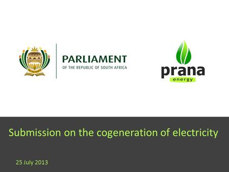 Submission on the cogeneration of electricity 25 July 2013.