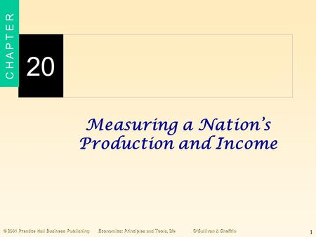 1 20 C H A P T E R © 2001 Prentice Hall Business PublishingEconomics: Principles and Tools, 2/eO'Sullivan & Sheffrin Measuring a Nation's Production and.