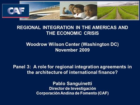 REGIONAL INTEGRATION IN THE AMERICAS AND THE ECONOMIC CRISIS Woodrow Wilson Center (Washington DC) November 2009 Panel 3: A role for regional integration.