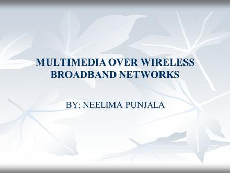 MULTIMEDIA OVER WIRELESS BROADBAND NETWORKS BY: NEELIMA PUNJALA.