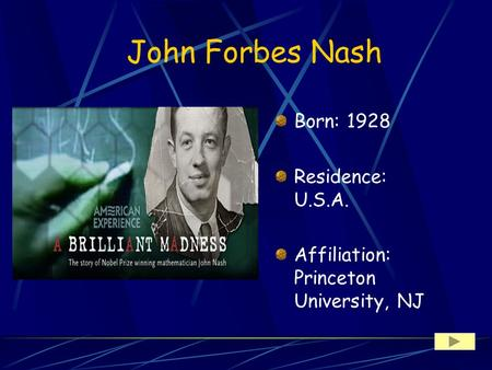 John Forbes Nash Born: 1928 Residence: U.S.A. Affiliation: Princeton University, NJ.