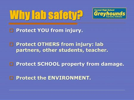 Why lab safety?  Protect YOU from injury.  Protect OTHERS from injury: lab partners, other students, teacher.  Protect SCHOOL property from damage.