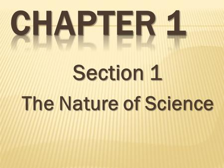 Section 1 The Nature of Science.  Science is a process  1 st investigate/research a problem  2 nd experiment  3 rd observe the outcome  4 th test.