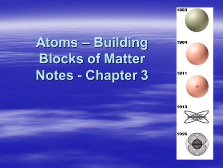 Atoms – Building Blocks of Matter Notes - Chapter 3 Atoms – Building Blocks of Matter Notes - Chapter 3.
