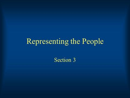 Representing the People Section 3. Key Terms Franking Privilege: The right of senators and representatives to send job-related mail without paying postage.