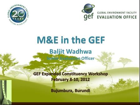 M&E in the GEF.  RBM, Monitoring & Evaluation  M&E in the GEF  M&E Levels and Responsible Agencies  M&E Policy  Minimum Requirements  Role of the.
