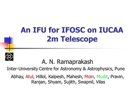 An IFU for IFOSC on IUCAA 2m Telescope