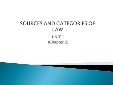 SOURCES AND CATEGORIES OF LAW