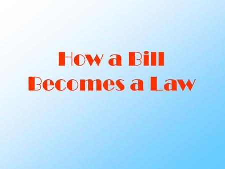 How a Bill Becomes a Law. Law making process Types of Bills Types of Bills – Public Bill – Private Bill Types of Resolutions Types of Resolutions – Simple.
