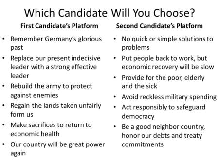 Which Candidate Will You Choose? First Candidate's Platform Remember Germany's glorious past Replace our present indecisive leader with a strong effective.