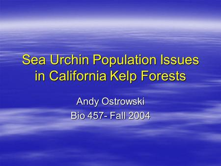 Sea Urchin Population Issues in California Kelp Forests Andy Ostrowski Bio 457- Fall 2004.