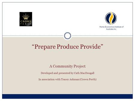 A Community Project Developed and presented by Cath MacDougall In association with Tracey Ashman (Crown Perth) Home Economics Institute of Australia Inc.