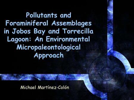 Pollutants and Foraminiferal Assemblages in Jobos Bay and Torrecilla Lagoon: An Environmental Micropaleontological Approach Michael Martínez-Colón.