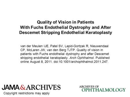 Quality of Vision in Patients With Fuchs Endothelial Dystrophy and After Descemet Stripping Endothelial Keratoplasty van der Meulen IJE, Patel SV, Lapid-Gortzak.