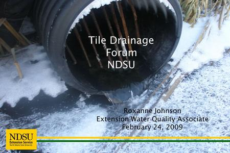 Roxanne Johnson Extension Water Quality Associate February 24, 2009 Tile Drainage Forum NDSU.