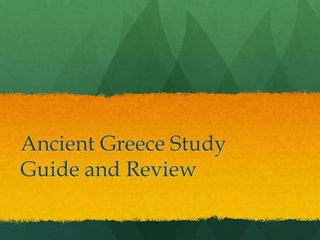Ancient Greece Study Guide and Review. Chapter 4 Section 1 1. Only free native-born men who owned land could be citizens p.122 1. Only free native-born.