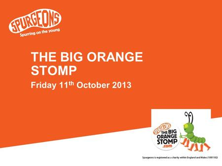THE BIG ORANGE STOMP Friday 11 th October 2013. Research in 2010 suggested that there are over 700,000 young carers in the UK. (BBC)
