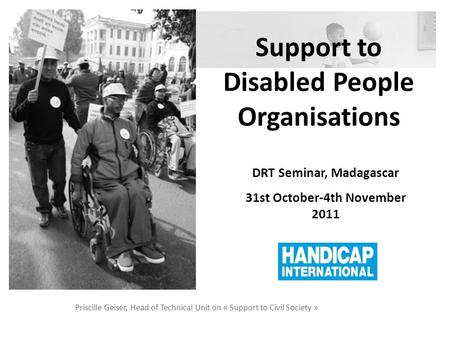 Support to Disabled People Organisations Priscille Geiser, Head of Technical Unit on « Support to Civil Society » DRT Seminar, Madagascar 31st October-4th.