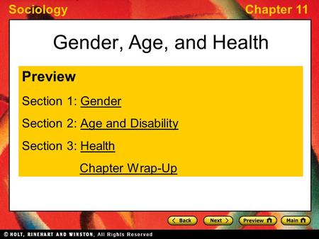 Gender, Age, and Health Preview Section 1: Gender