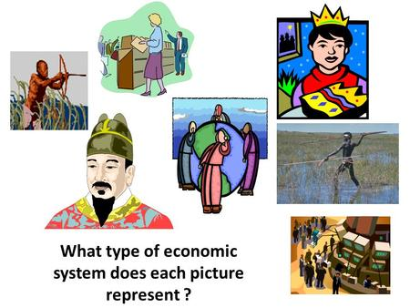 What type of economic system does each picture represent ?