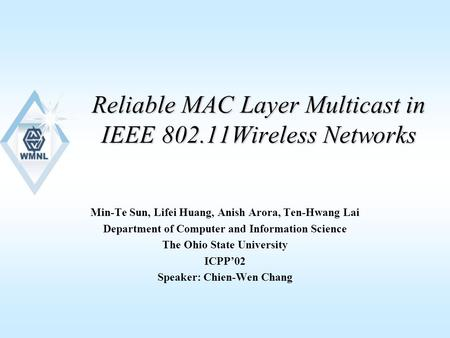 Reliable MAC Layer Multicast in IEEE 802.11Wireless Networks Min-Te Sun, Lifei Huang, Anish Arora, Ten-Hwang Lai Department of Computer and Information.