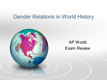 Gender Relations in World History AP World Exam Review.