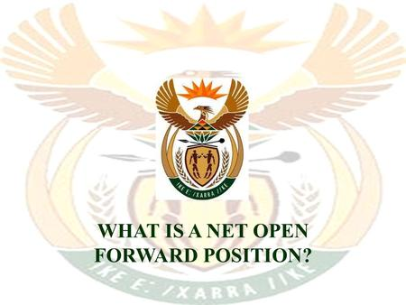 WHAT IS A NET OPEN FORWARD POSITION? The market for foreign currency South African firms require foreign currency to –pay for goods imported from abroad.
