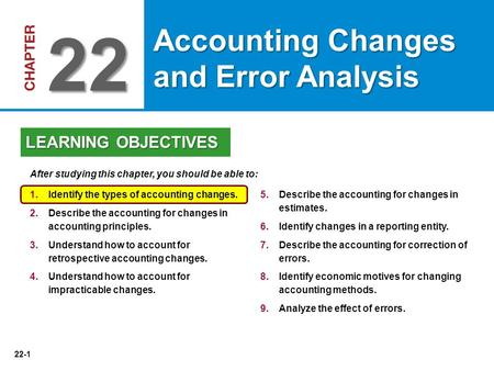 22-1 5.Describe the accounting for changes in estimates. 6.Identify changes in a reporting entity. 7.Describe the accounting for correction of errors.