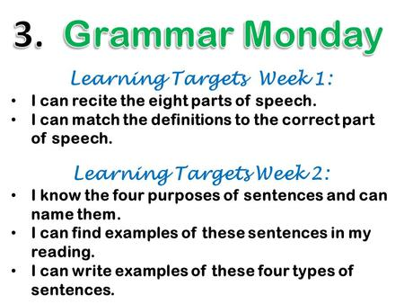 Learning Targets Week 1: I can recite the eight parts of speech. I can match the definitions to the correct part of speech. Learning Targets Week 2: I.