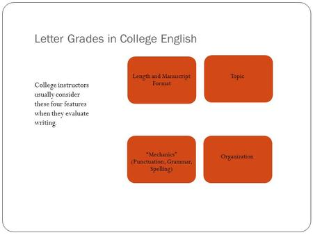Letter Grades in College English College instructors usually consider these four features when they evaluate writing. Length and Manuscript Format Topic.
