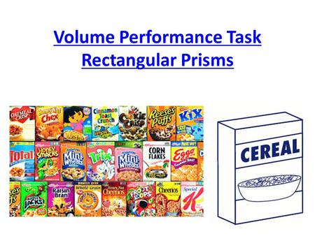 Volume Performance Task Rectangular Prisms