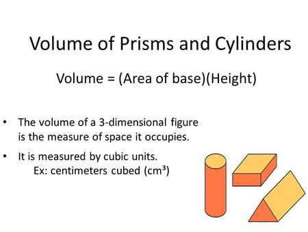 Volume of Prisms and Cylinders Volume = (Area of base)(Height) The volume of a 3-dimensional figure is the measure of space it occupies. It is measured.