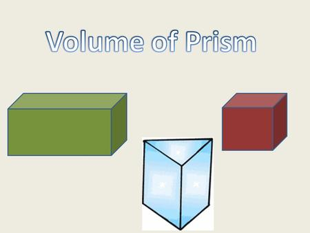 Vocabulary Prism 3-D Shape Two bases that are parallel Volume How much an item holds.