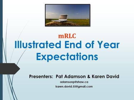 Illustrated End of Year Expectations Presenters: Pat Adamson & Karen David  mRLC.