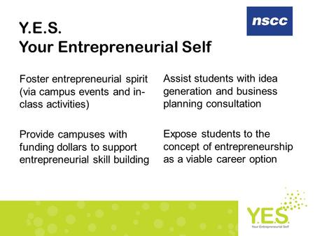 Y.E.S. Your Entrepreneurial Self Foster entrepreneurial spirit (via campus events and in- class activities) Provide campuses with funding dollars to support.