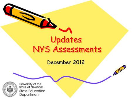 Updates NYS Assessments December 2012. Changes to NYSESLAT Phase 1: Tests administered in 2013 and 2014 –Aligned to existing ESL standards –Moving towards.