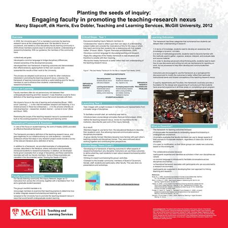 Planting the seeds of inquiry : Engaging faculty in promoting the teaching-research nexus Marcy Slapcoff, dik Harris, Eva Dobler, Teaching and Learning.