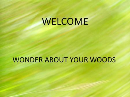WELCOME WONDER ABOUT YOUR WOODS. TONIGHT WE ARE GOING TO HAVE A DISCUSSION ABOUT YOUR LAND AND YOUR VISIONS FOR IT.