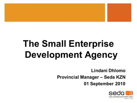 The Small Enterprise Development Agency Lindani Dhlomo Provincial Manager – Seda KZN 01 September 2010.