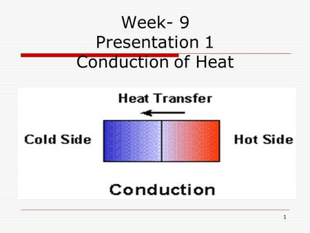 Week- 9 Presentation 1 Conduction of Heat 1. Lesson Objectives: i. Understand Heat transfer ii. Understand Conduction and carryout an experiment 2.