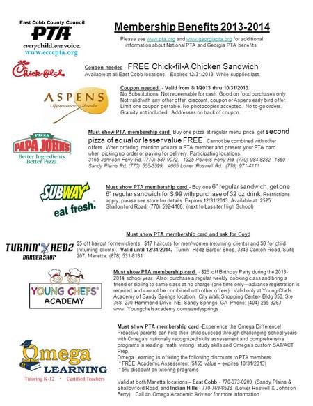 Coupon needed - FREE Chick-fil-A Chicken Sandwich Available at all East Cobb locations. Expires 12/31/2013. While supplies last. Membership Benefits 2013-2014.