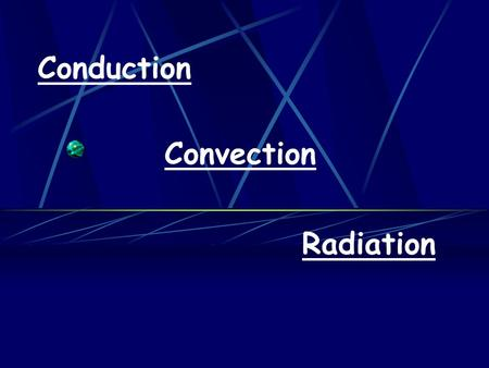 Conduction Convection Radiation. AIMS To understand the process of conduction To understand the process of convection To understand the process of radiation.