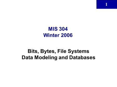 1 MIS 304 Winter 2006 Bits, Bytes, File Systems Data Modeling and Databases.