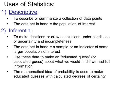 Definitions, Uses, Data Types, and Levels of Measurement