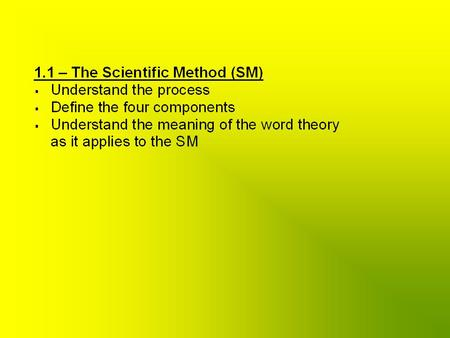Define the Question/Problem Propose Hypothesis: educated guess Carry out experiments & collect data Develop Theory: conclusion(s) based on factual data.