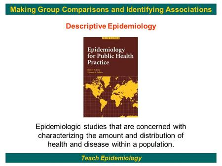 1 Epidemiologic studies that are concerned with characterizing the amount and distribution of health and disease within a population. Descriptive Epidemiology.