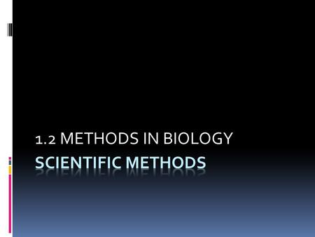 1.2 METHODS IN BIOLOGY SCIENTIFIC METHODS.