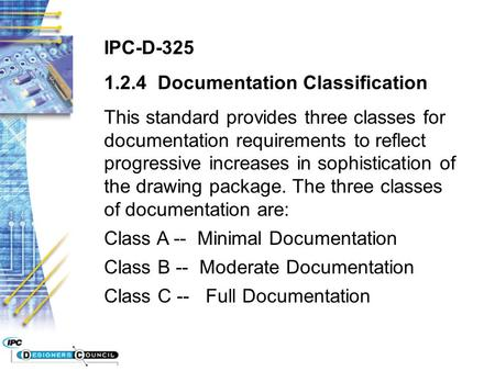 IPC-D-325 1.2.4 Documentation Classification This standard provides three classes for documentation requirements to reflect progressive increases in sophistication.