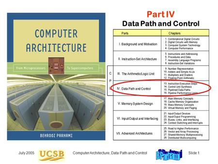 July 2005Computer Architecture, Data Path and ControlSlide 1 Part IV Data Path and Control.